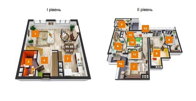 двухуровневая квартирв дизайн проект