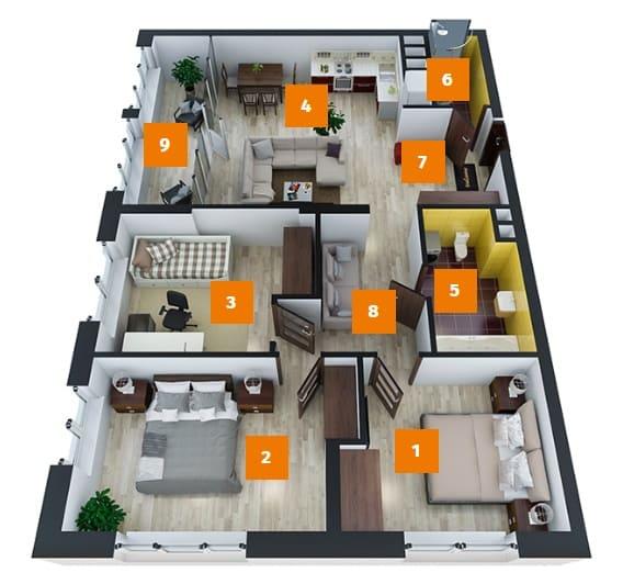 трехкомнатная квартира дизайн проект